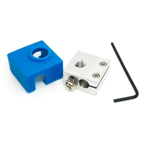 Micro Swiss Heater Block Upgrade with Silicone Sock for CR10 / Ender 2 / Ender 3 / ANET A8 Printers MK7, MK8, MK9 Hotends