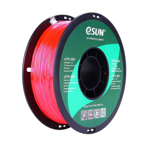 eSUN eTPU-95A Filament Rosa Transparent - 1,75 mm - 1 kg